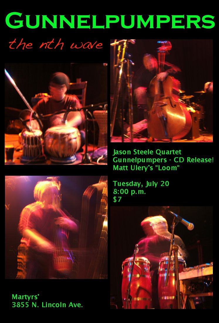 Poster for Gunnelpumpers the nth wave CD release show at Martyrs, 2010/07/20