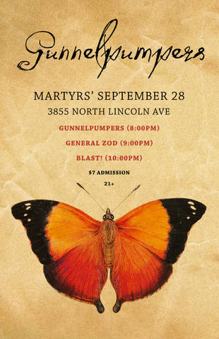 Poster for Gunnelpumpers at Martyrs 2011-09-28